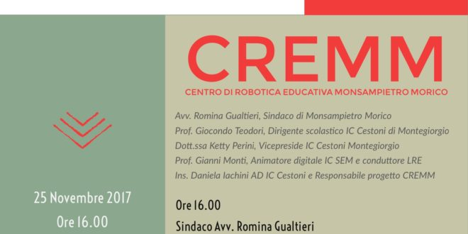INAUGURAZIONE CENTRO DI ROBOTICA EDUCATIVA CREMM: PROGRAMMA 25 NOVEMBRE 2017
