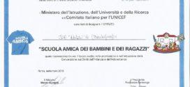 """ATTESTATO """"SCUOLA AMICA DEI BAMBINI"""" 2017-2018 UNICEF-MIUR"""