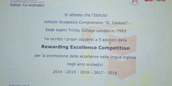 PREMIAZIONE TRINITY REWARDING EXCELLENCE COMPETITION 2018 E CONSEGNA CERTIFICATI SUPERAMENTO ESAME TRINITY MAY 2018